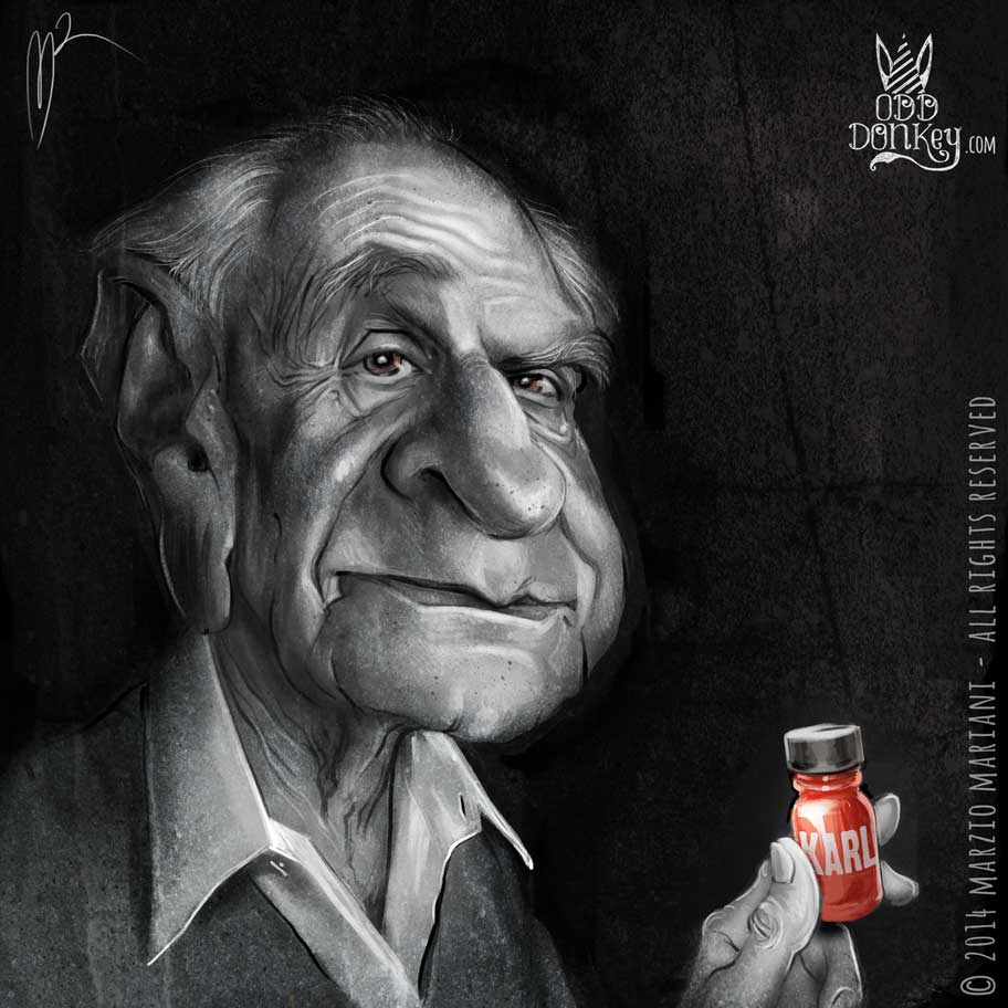 Karl Popper caricature by Marzio Mariani (All Rights Reserved)