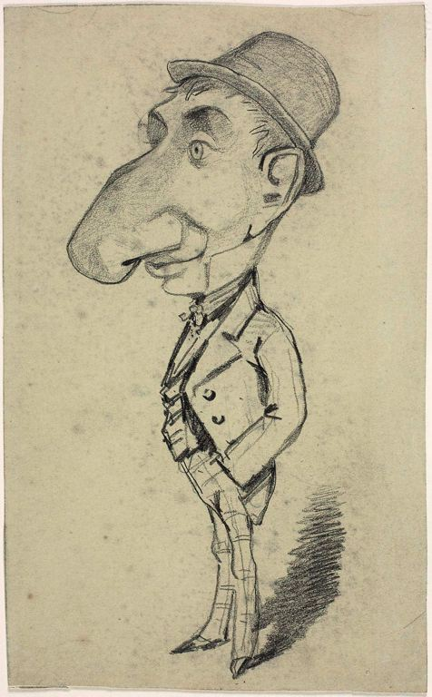 Caricature of a Man with a Large Nose - Claude Monet