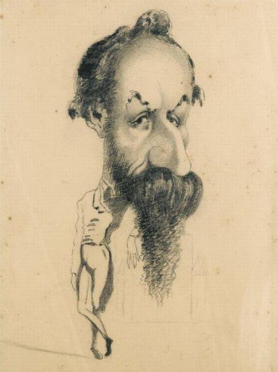 Caricature of Philibert Audebrand - Claude Monet