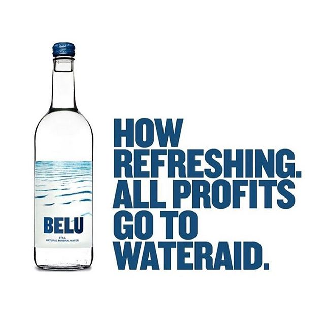 """Acknowledging social conscience.  ⠀ """"Light Work"""" is our ongoing series that celebrates the people, groups, businesses and ideas that inspire us.  'Belu is an ethical mineral water produced in the UK. It's a carbon neutral, in a lightweight recyclable bottle and made with recycled glass. Belu is a British #socialenterprise and 100% of profits go to @wateraid . So far that's over £3m.'  @beluwater 💦  #socialbusiness #nonprofit #sustainabledevelopment"""