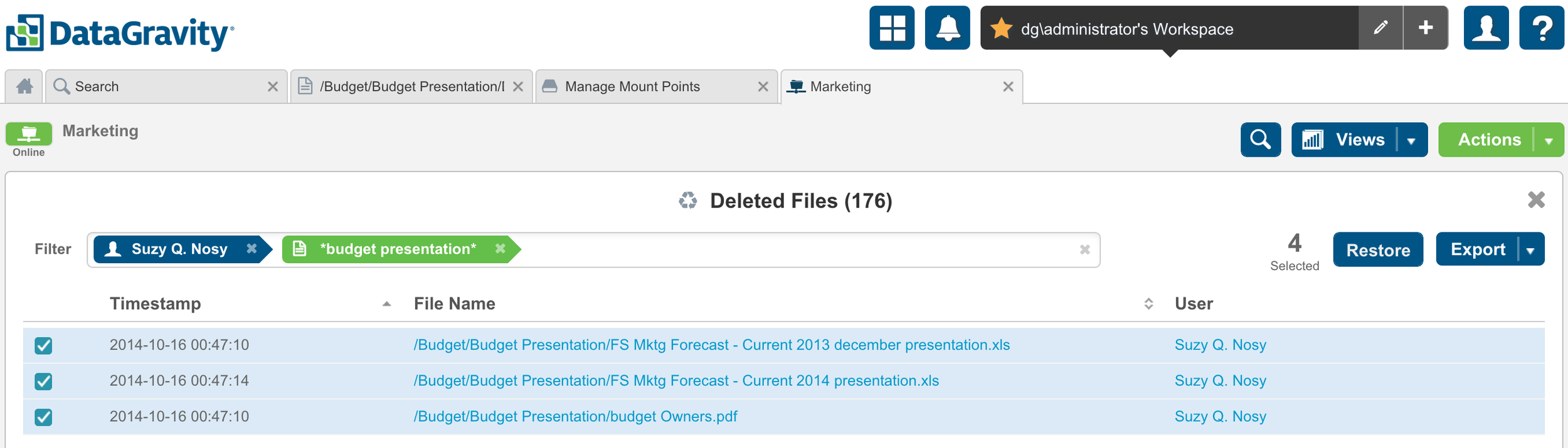 Find Items to Recover Quickly using Search & Filtering