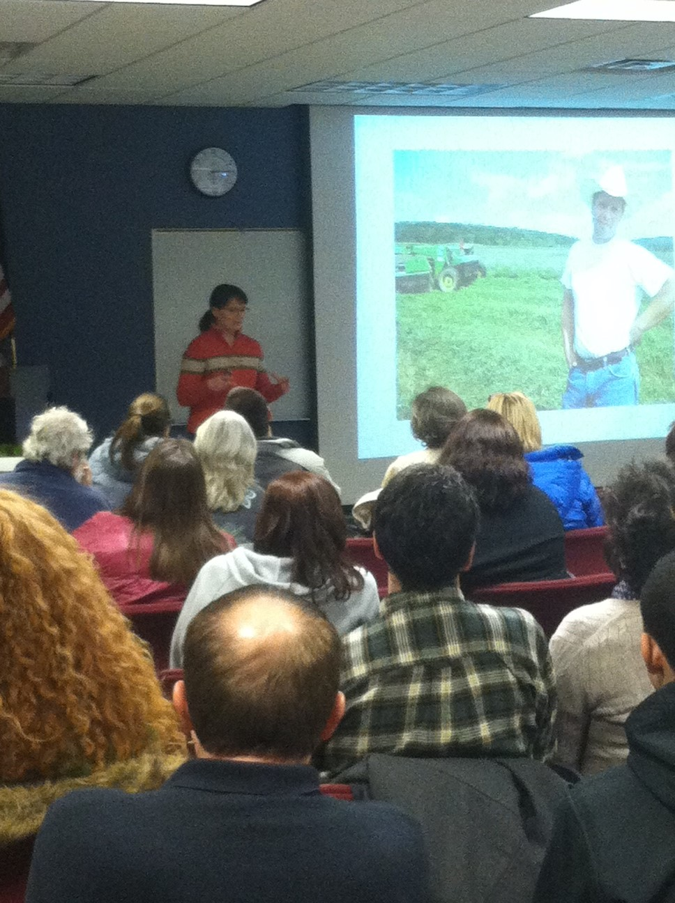 Suzie talking about locavores at a recent Mohawk Valley Community College event.