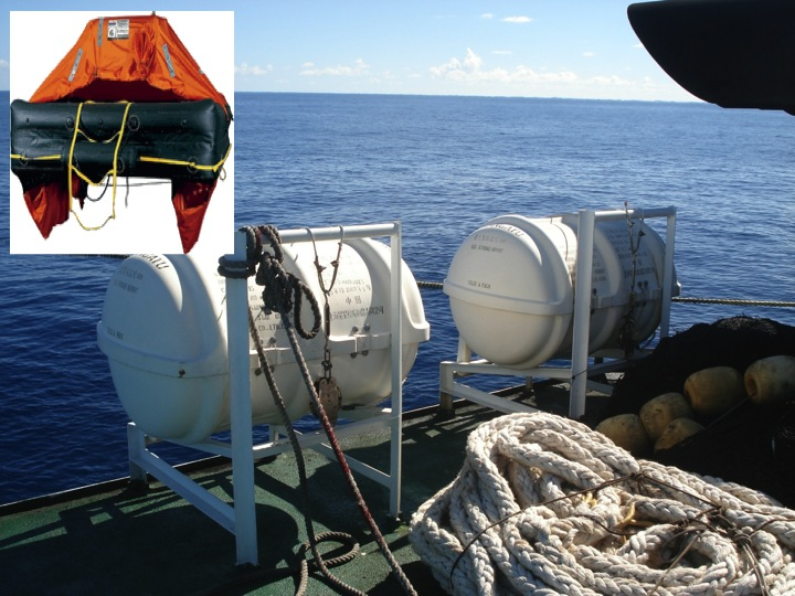 Life rafts are often packaged in white plastic barrels and inflate when deployed (see inset image).