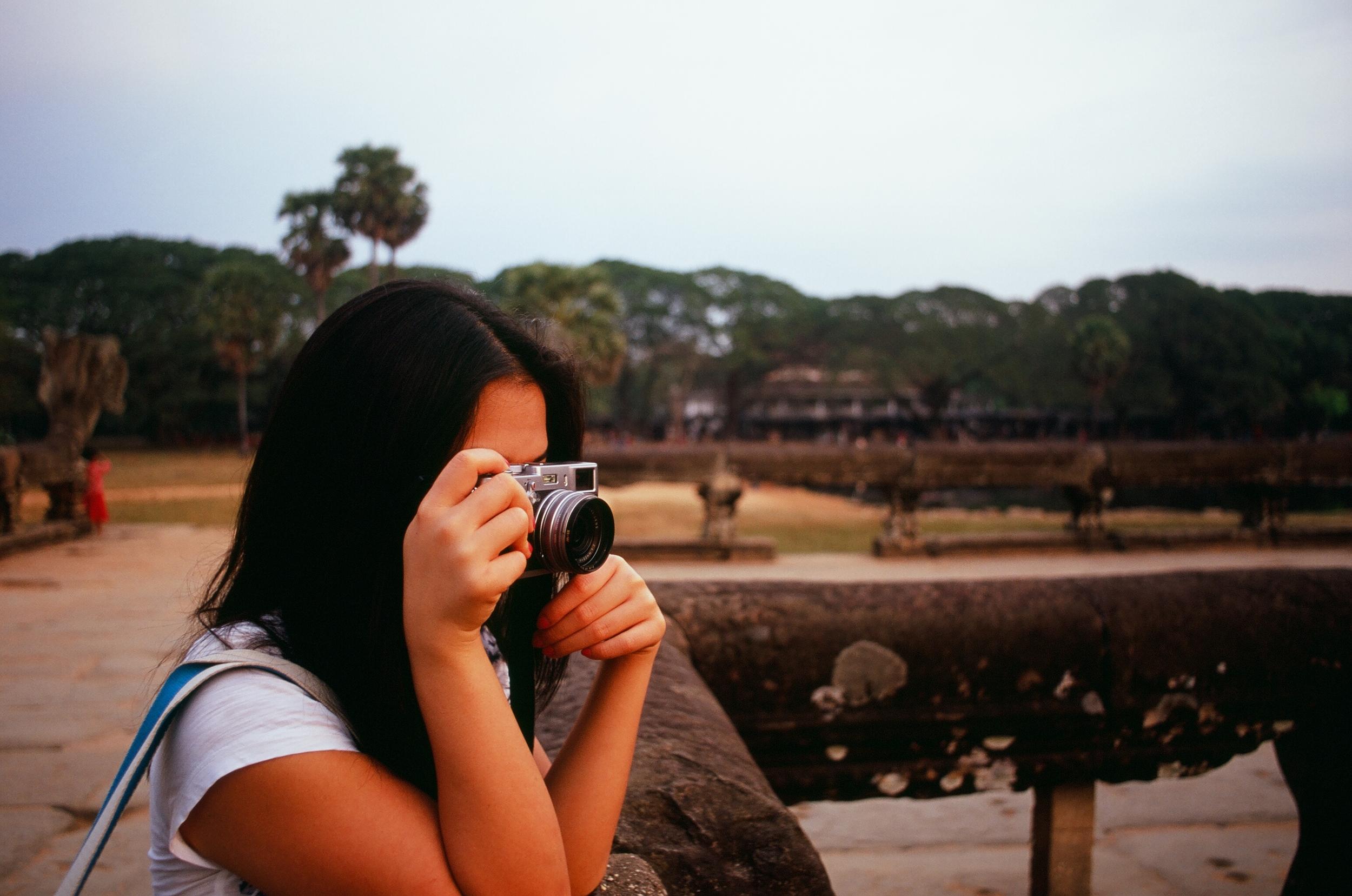 Tara documenting Angkor Wat