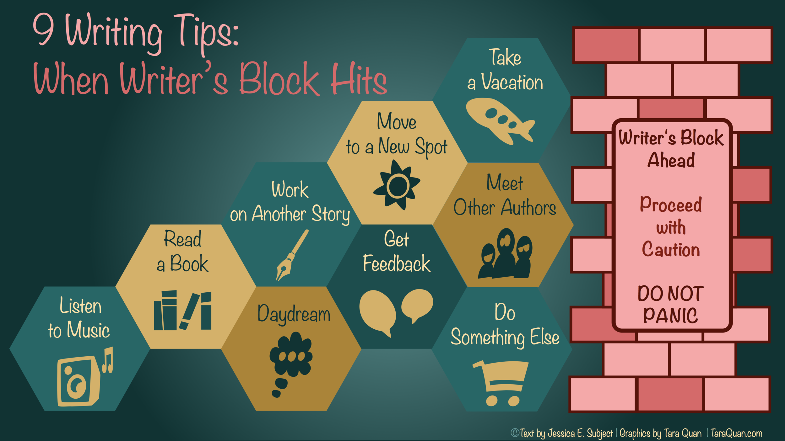 9 Writing Tips: When Writer's Block Hits | Text by Jessica Subject | Graphics by Tara Quan
