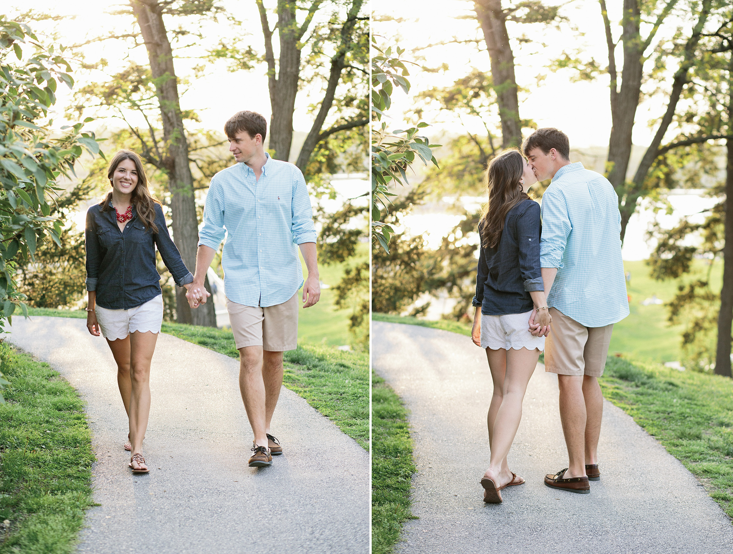 Brendan and Lindsay's engagement session was photographed on a mix of film and digital on location in Philadelphia's Boat House Row by Hudson Nichols photography.