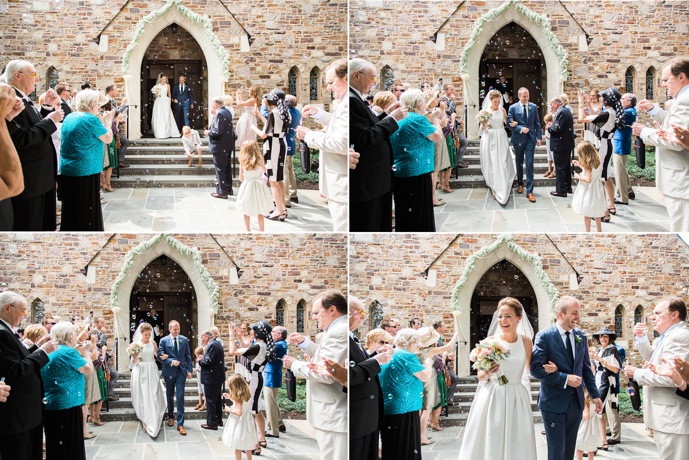 Bubble blowing guests greet Courtney and Dave after their Philadelphia Wedding. Photographed by Hudson Nichols photography.