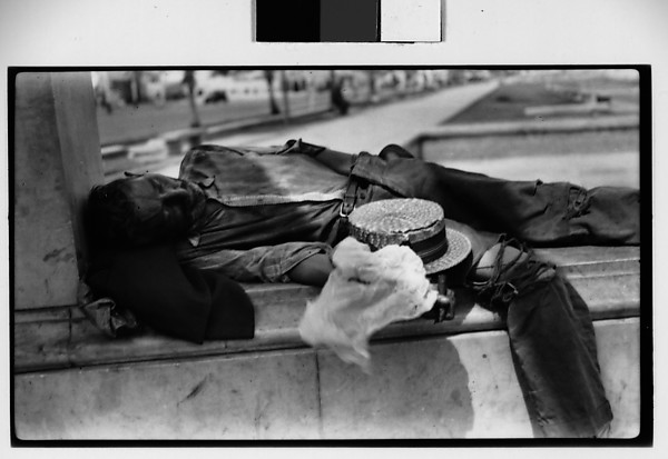 """Sleeping Beggar, Havana"",  Artist: Walker Evans (American, St. Louis, Missouri 1903–1975 New Haven, Connecticut), Date: 1933, Medium: film negative.  To learn more about this piece see:  Metropolitan Museum of Art ."