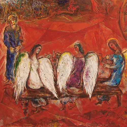 Marc Chagall,  Abraham and Three Angels,  1966, oil on canvas, detail