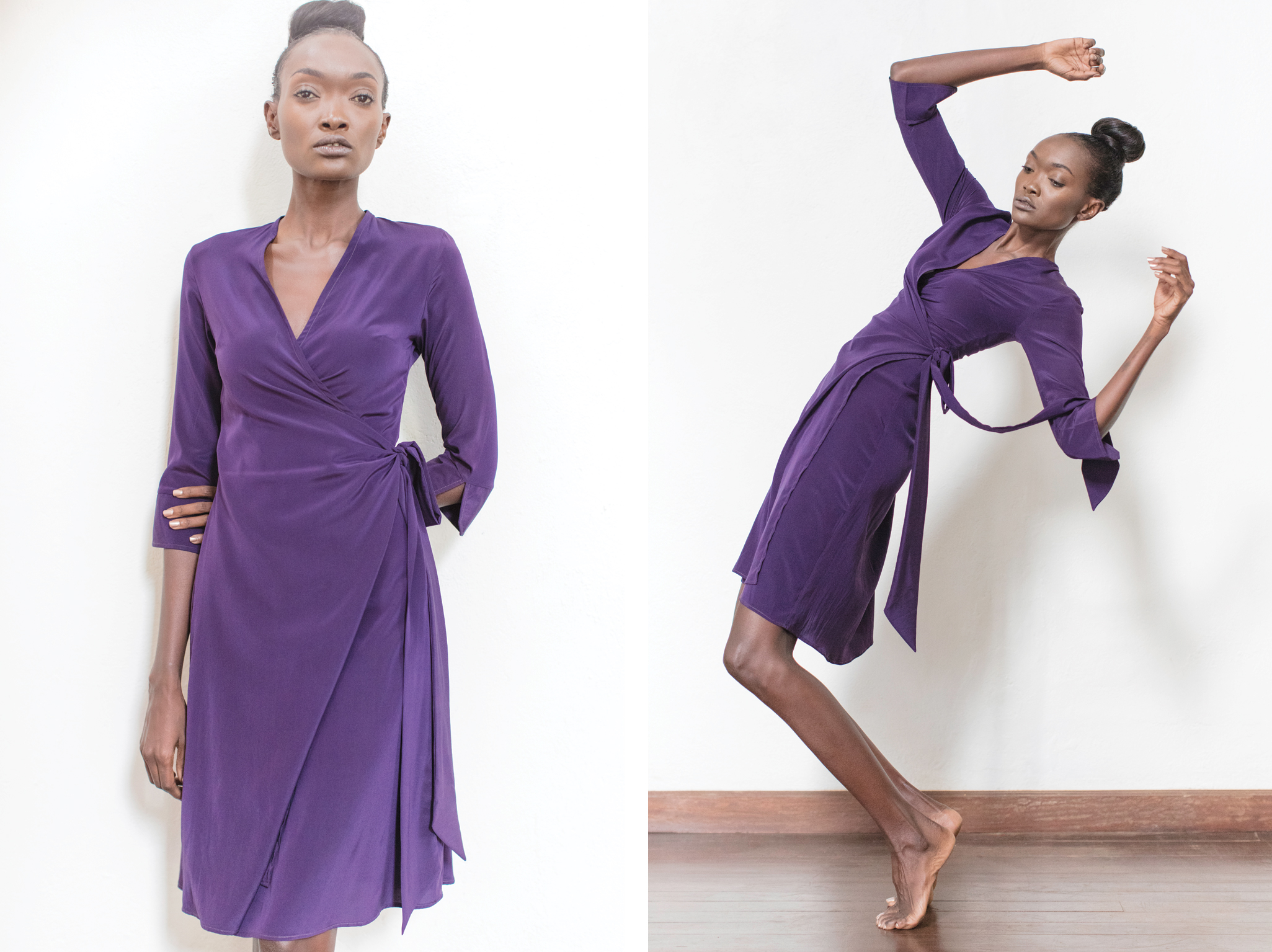 Shamini Wrap dress  - With a classic V-neck, this easy-wearing dress is simple yet chic. with its clean V neck, this dress is easy to wear and versatile. 97% silk 3% lycra.