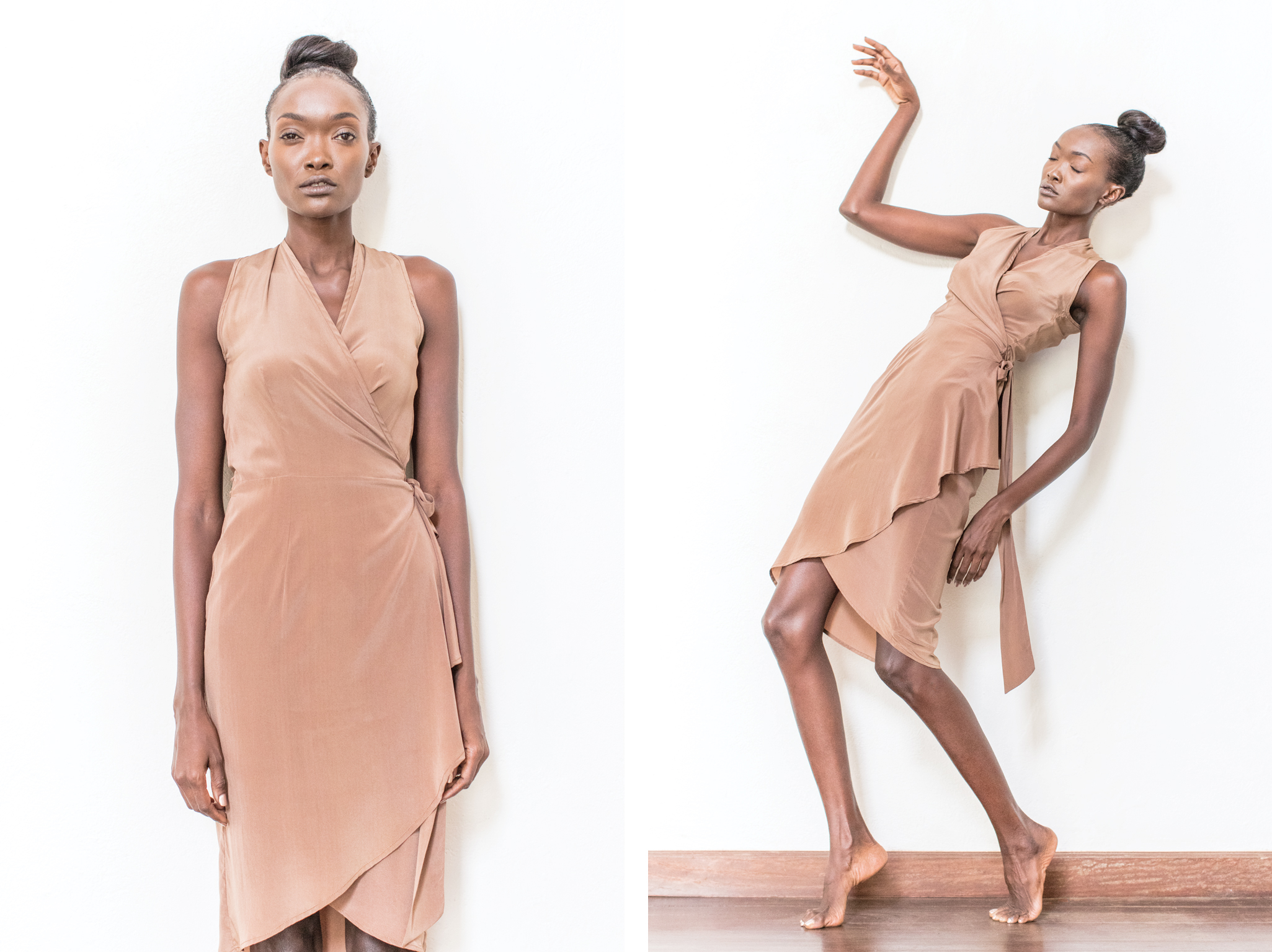 Ann-Marie frill wrap dress  - a cute-and-sassy cousin of our Shamini wrap dress, the frill will make you feel light and free. 97% silk 3% lycra.