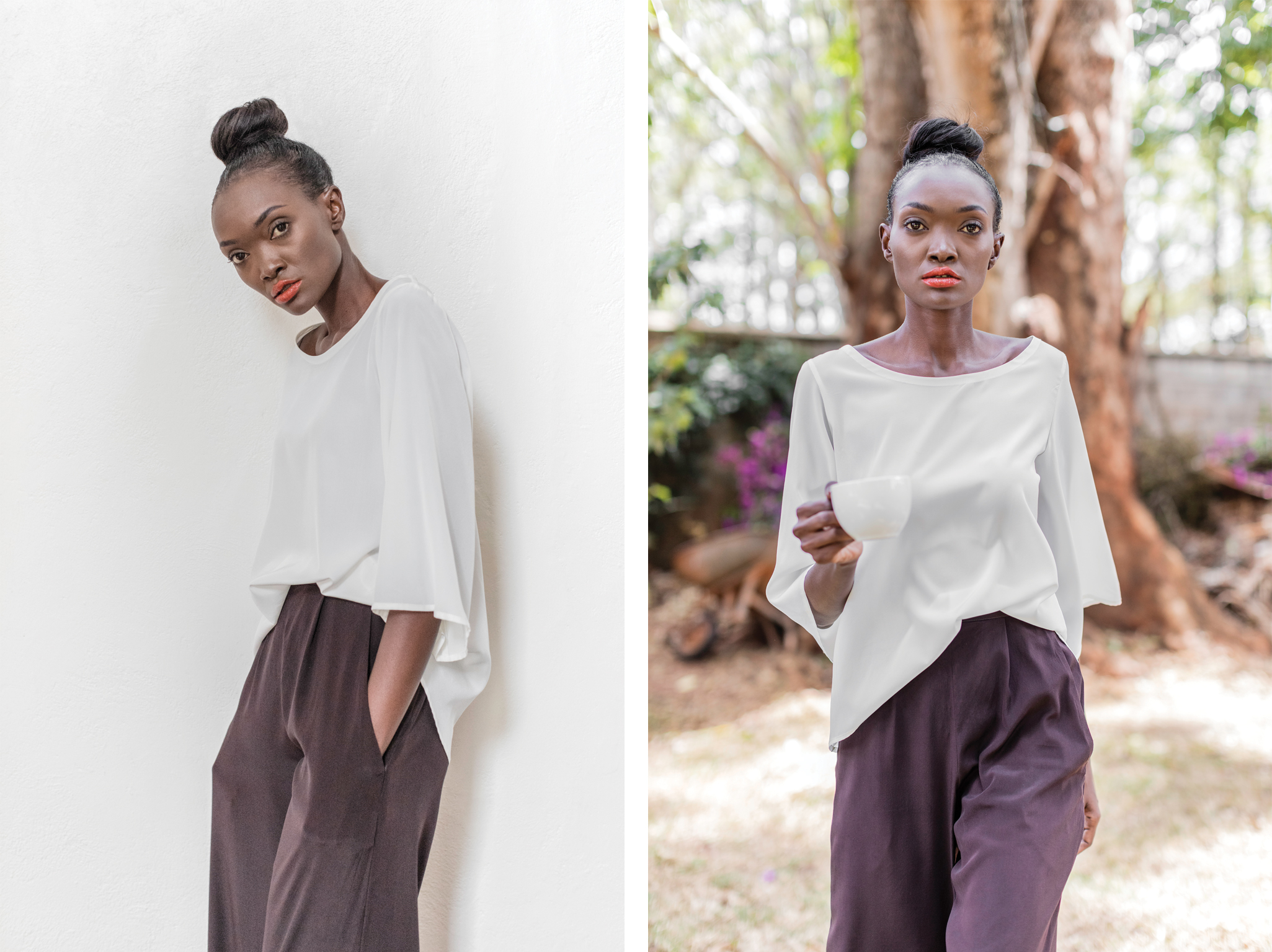 Jessica shirt  – the clean classic lines of this shirt allow it to be versatile and easy to wear paired with our Ursula palazzo pants. Wide, flowing and easy. Both are 97% silk 3% lycra.