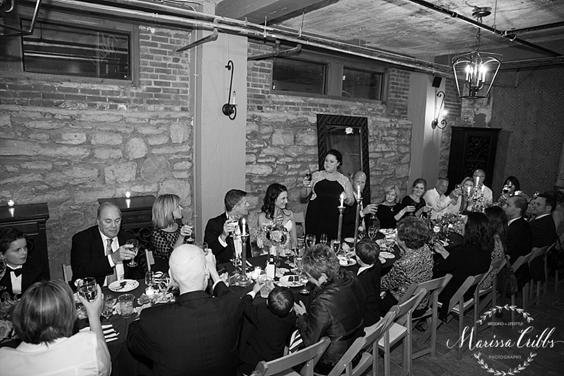 KC Wedding Reception | Cellar 222 | KC Wedding Photographer | Marissa Cribbs Photography | Toasts