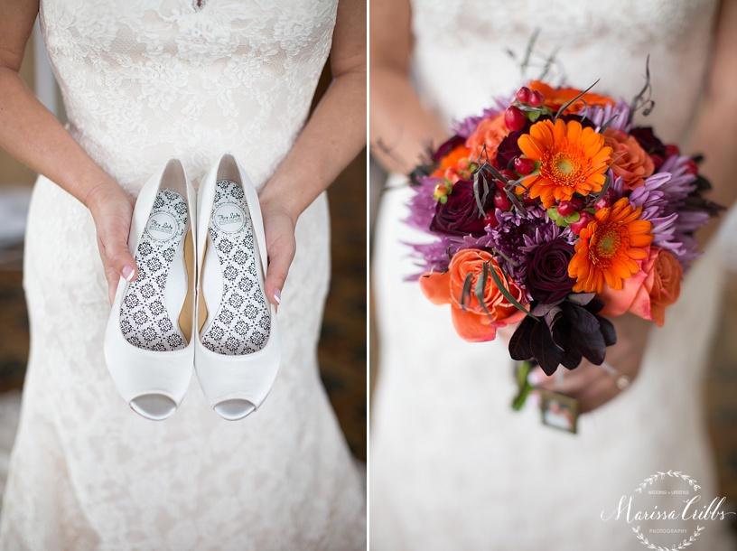 Bride getting ready | Deer Creek Golf Club | Marissa Cribbs Photography | Bridal Shoes | Bridal Bouquet | Flowers By Emily