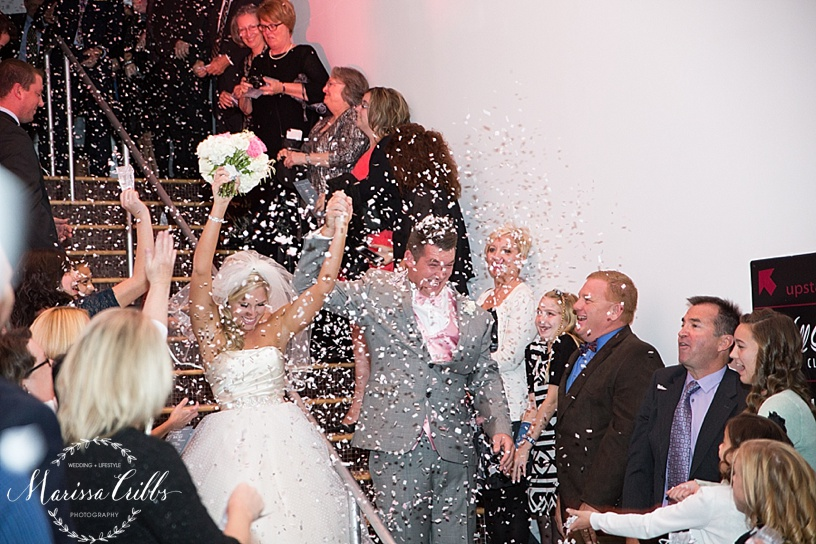 Bride and Groom Confetti Send Off   Bride and Groom Introduction   The Gallery Event Space   Marissa Cribbs Photography