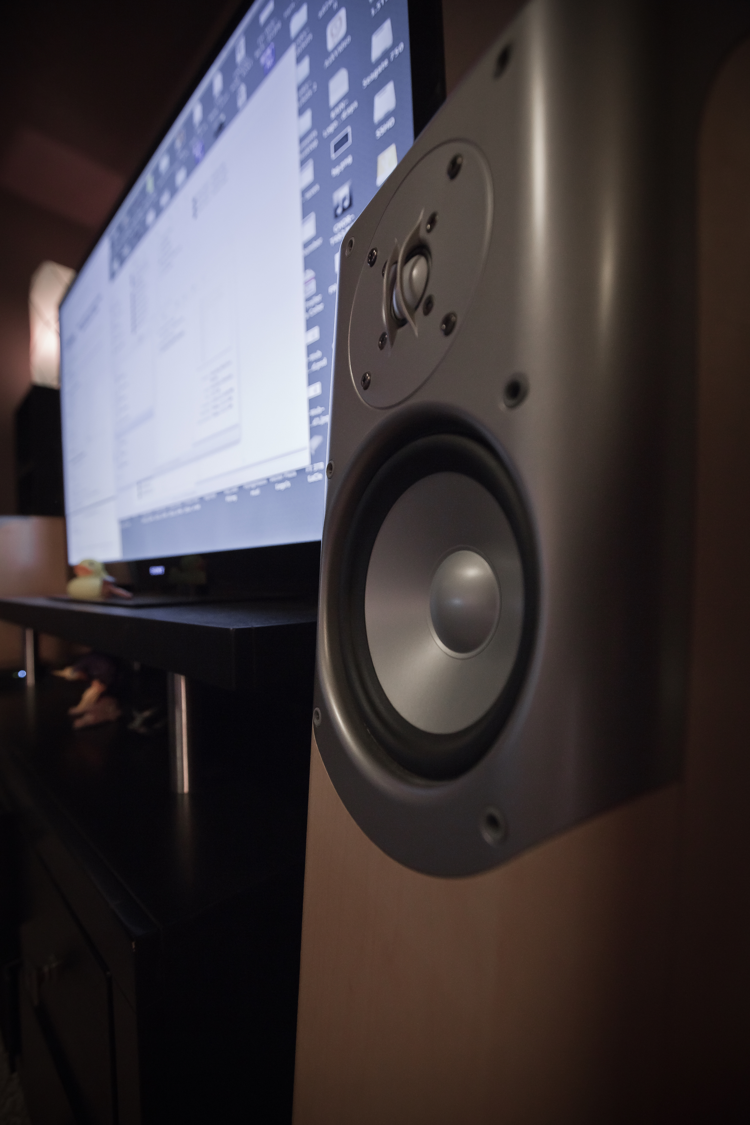 Infinity Speakers. They are stereo speakers that have subs built inside of them.