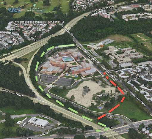 Two potential paths around the Padavan Campus.