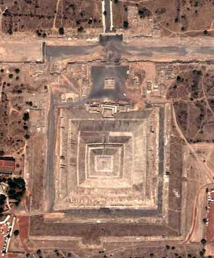 The Pyramid of the Sun (aerial view) in Teotihuacan, Mexico