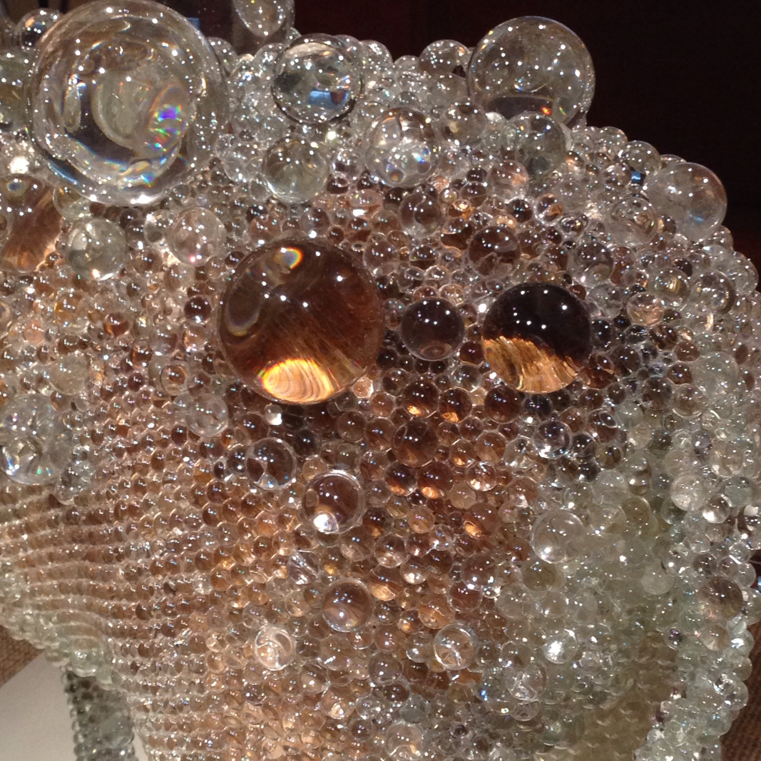 Glossy, smooth, and transparent glass bubbles.