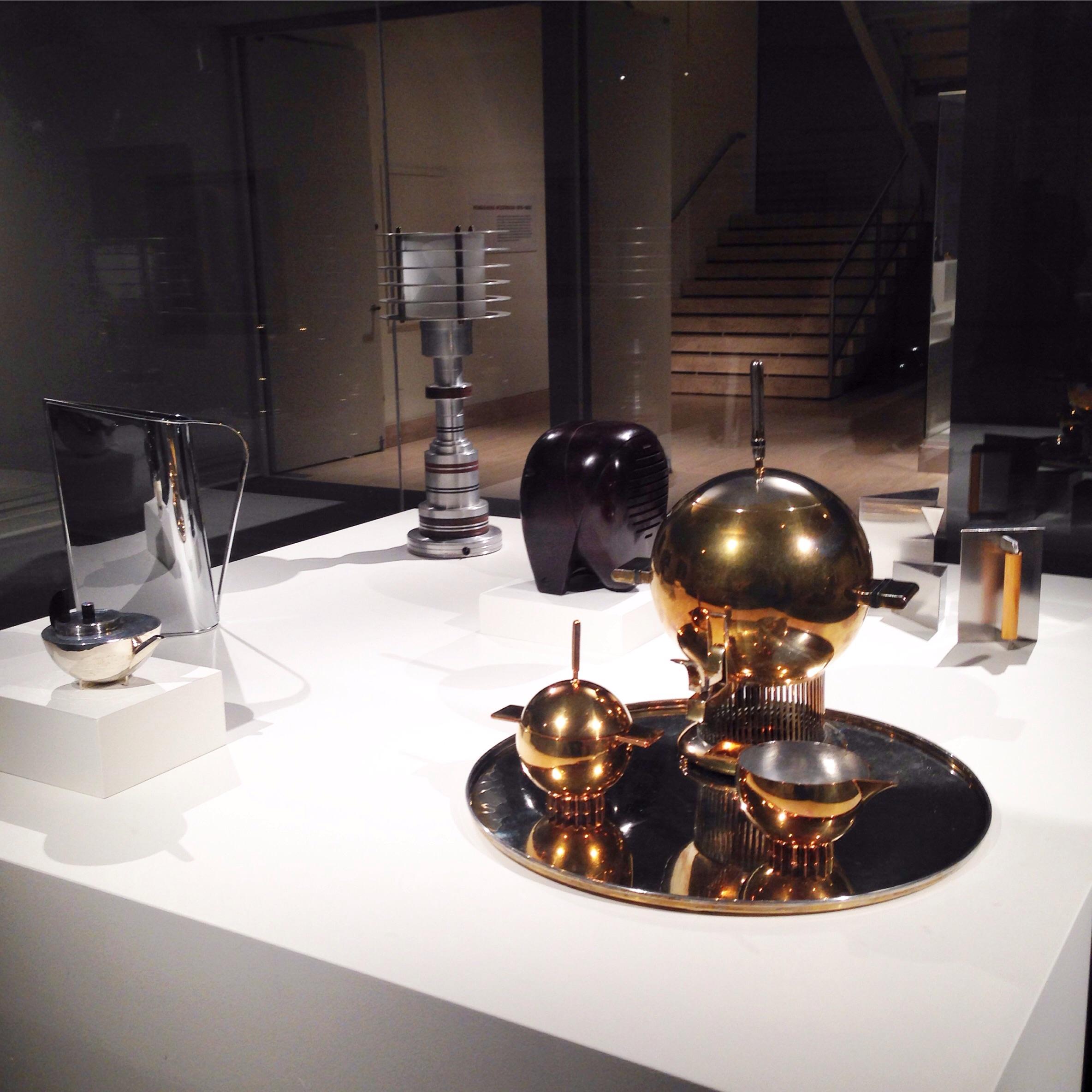 Contemporary, high polish table top adornments.