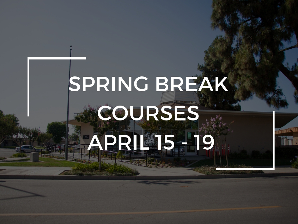 For information and to register for Spring Break Courses scheduled  April 15 - 19  click here.