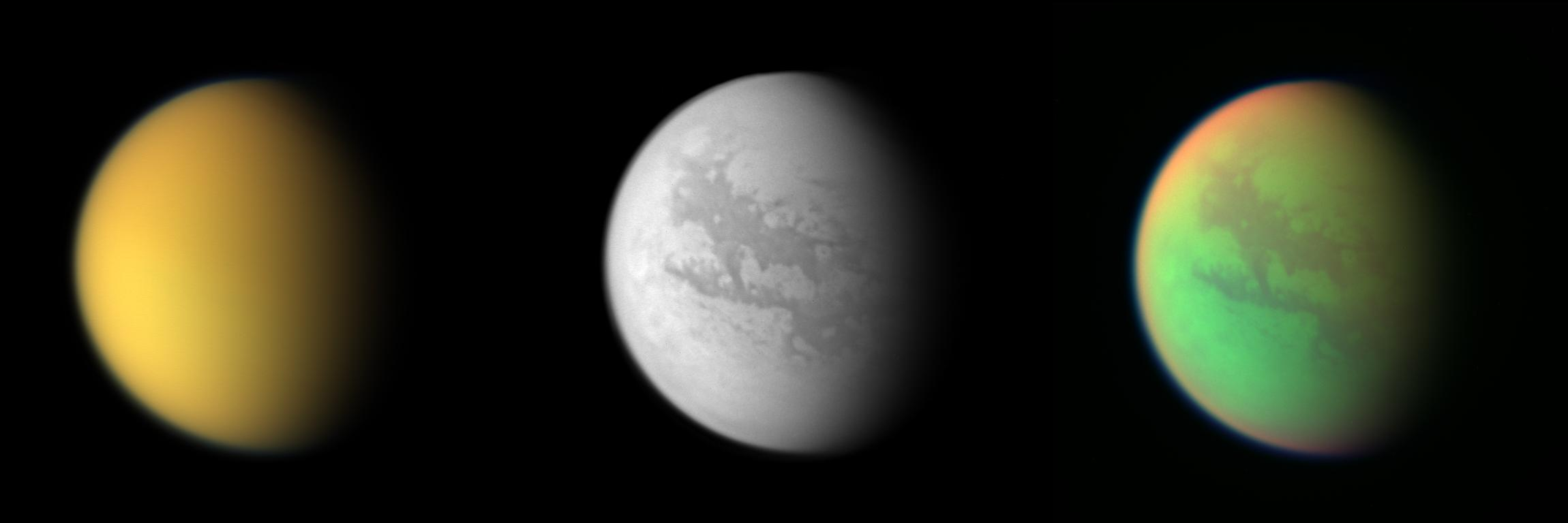 From   NASA  : These three views of Titan from the Cassini spacecraft illustrate how different the same place can look in different wavelengths of light. Cassini's cameras have numerous filters that reveal features above and beneath the shroud of Titan's atmosphere.