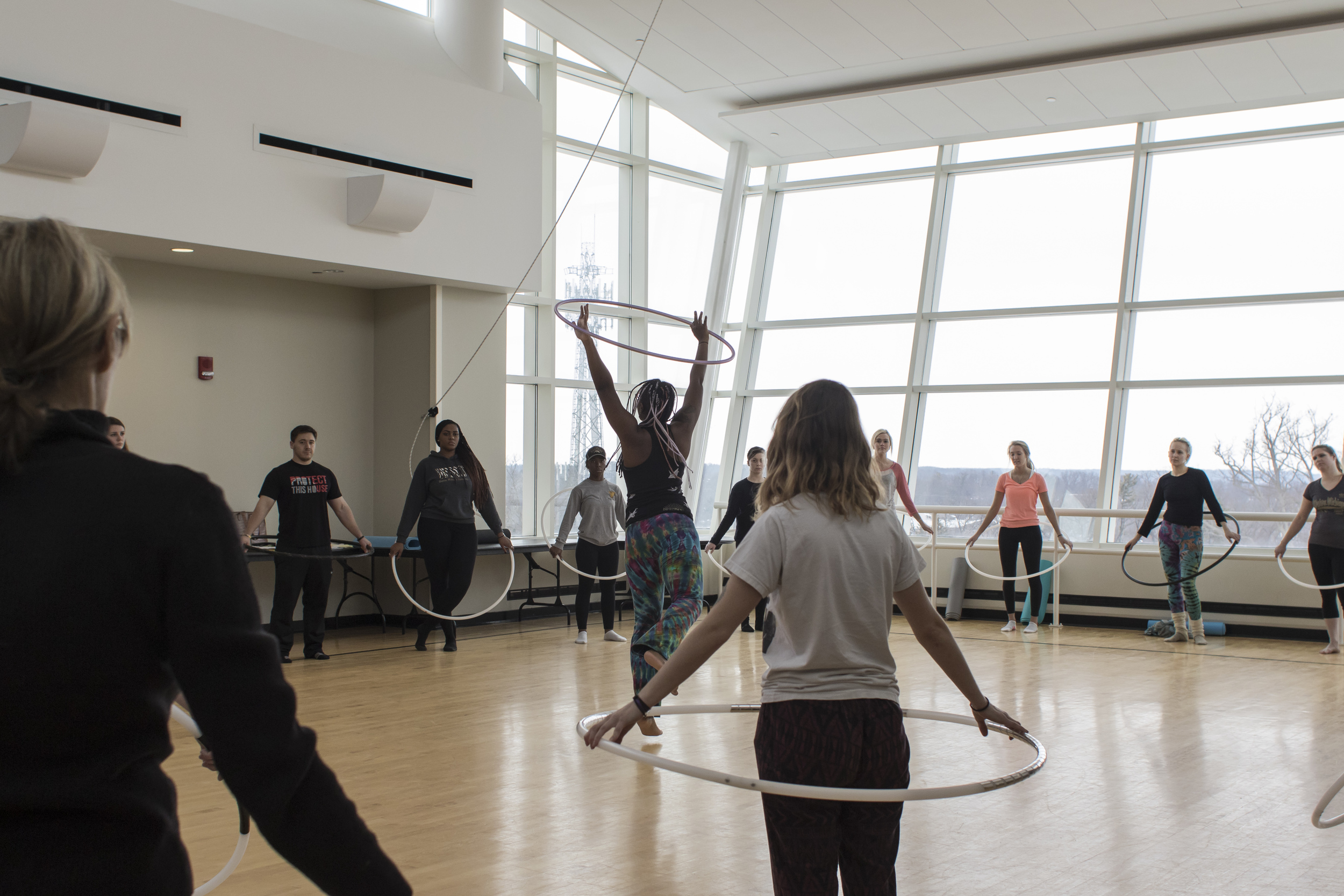 """Shani showed off some of the more advanced hoop tricks and movement combinations. Danna commented that her demonstration was """"full of flow and grace and quiet drama."""""""