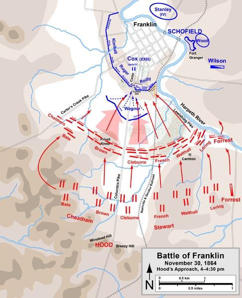Battle of Franklin. Map by Hal Jespersen, www.posix.com/CW