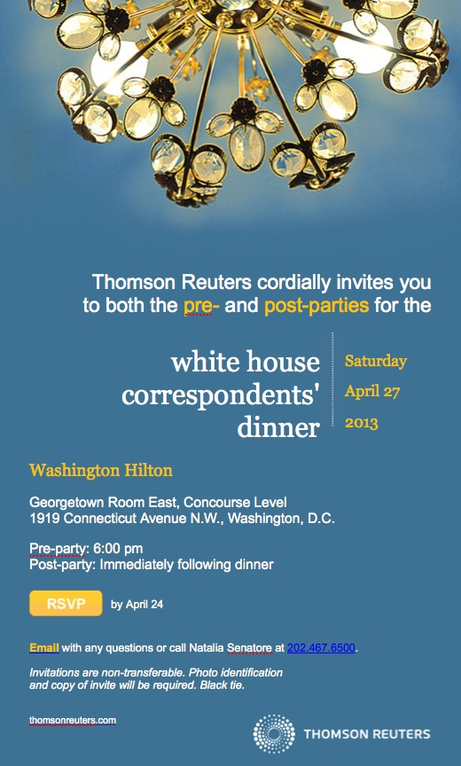 White House Correspondents Dinner Parties for Lansdale Associates & Thomson Reuters