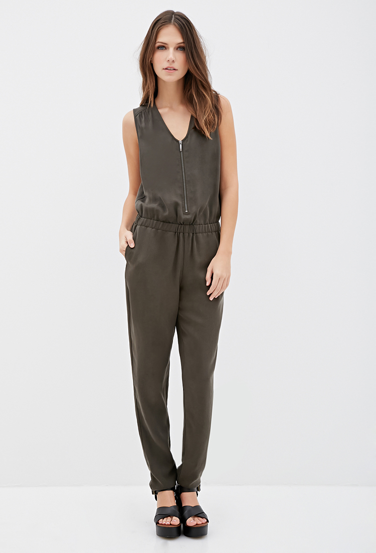 OLIVE-ZIP-FRONT-JUMPSUIT-SITTING-IN-THE-GRAY