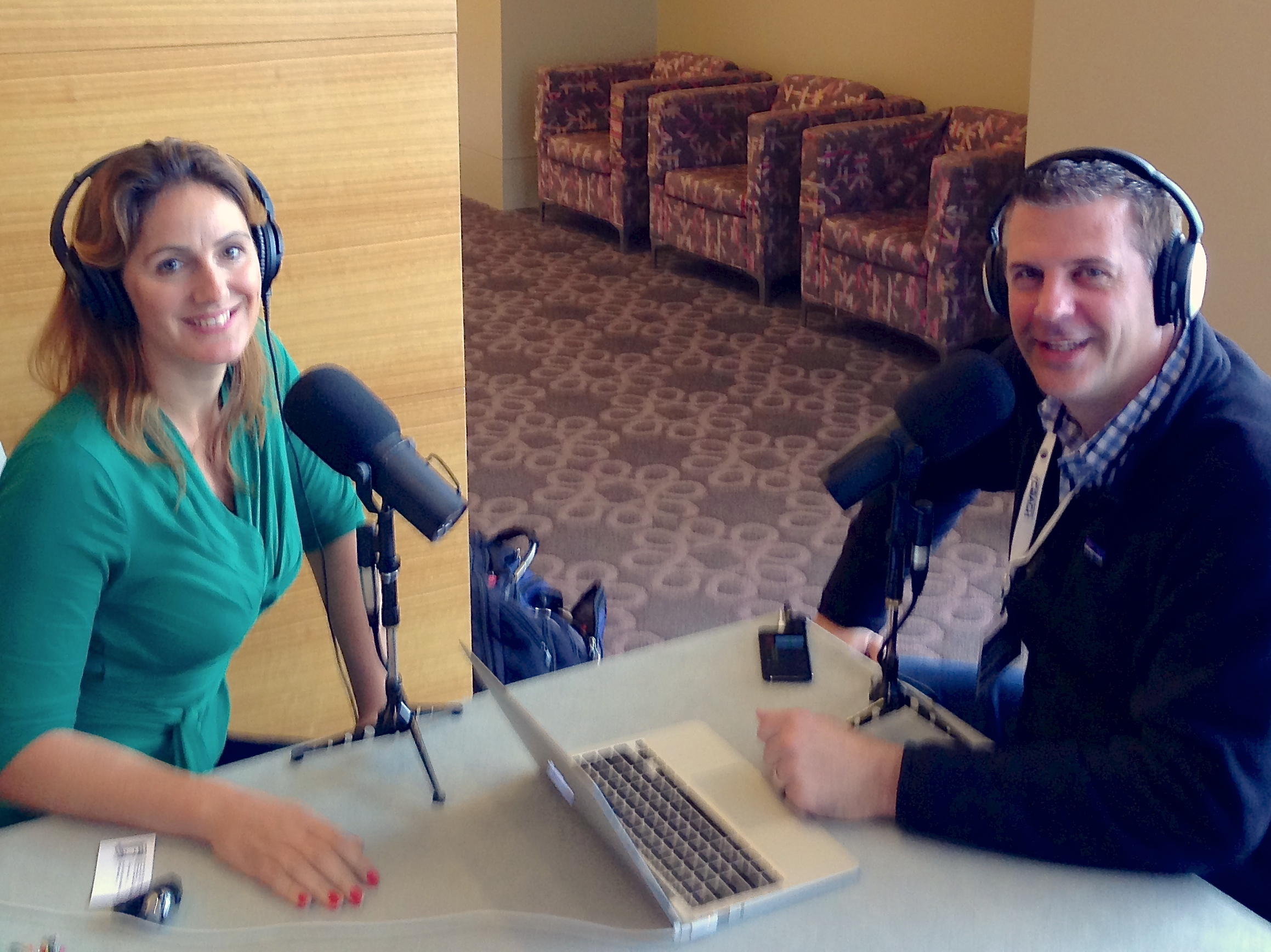 Natalie Sisson,    The Suitcase Entrepreneur    and Shawn Smith,    The Mobile Pro   , at a Podcast Conference.