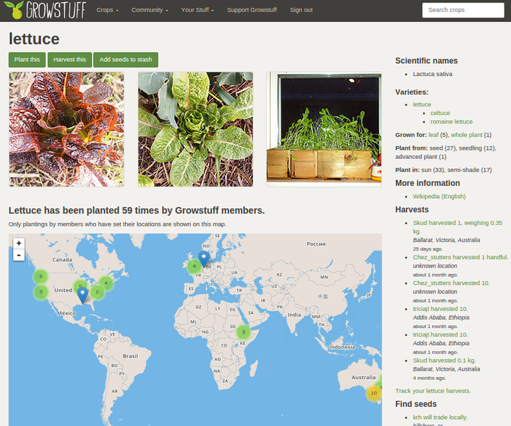 A screenshot of Growstuff's page for lettuce in 2014.