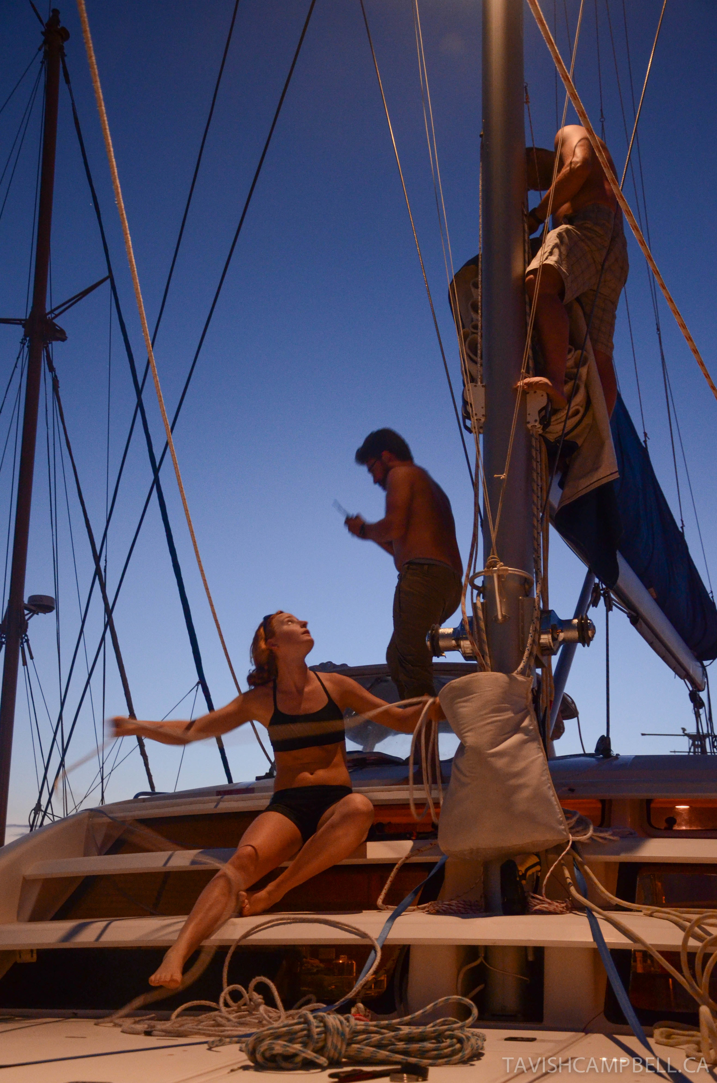 Final rig prep is completed by crew in Honolulu, Hawaii the night before departure on an 18 day passage north to B.C. in May 2012.