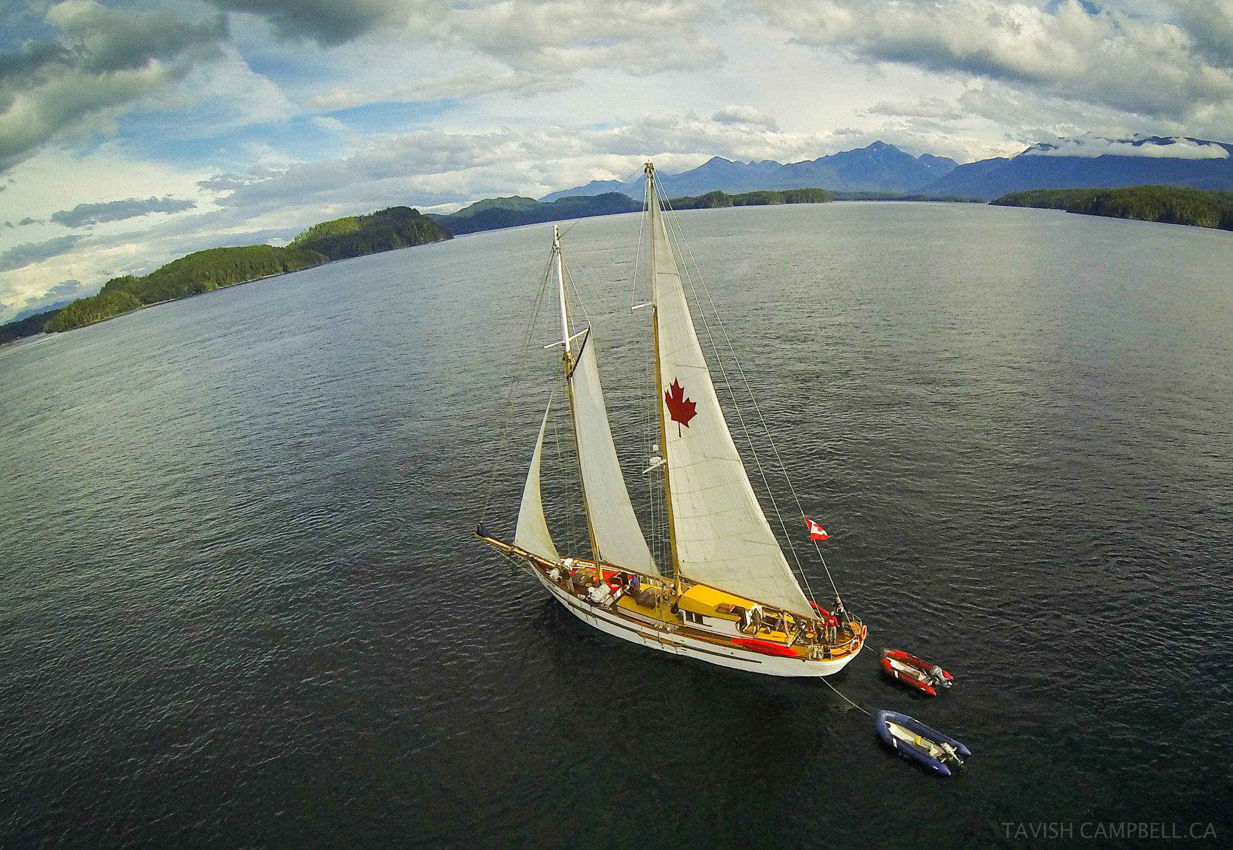 The schooner Maple Leaf catches a light breeze in Blackfish Sound, Broughton Archipelago. A camera was tied onto a kite and sent aloft for this shot in August 2013.