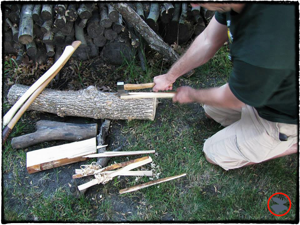 Chopping kindling with the Craftsman axe. My preferred splitting technique with a hand axe. Safer and quicker than standing each piece on end.