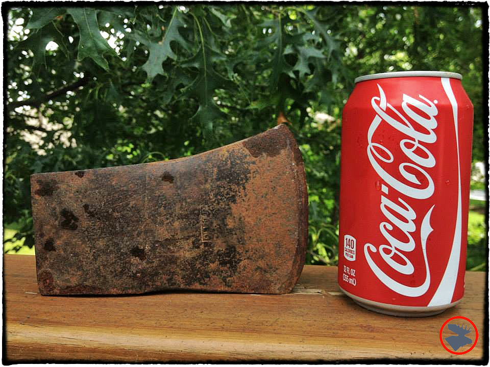 I soaked the axe head in Coke to help get rid of the corrosion.