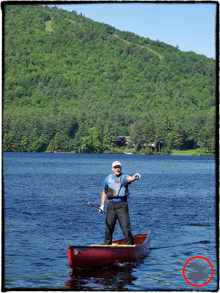 Harry Rock riling up the crowd once again with his canoe poling skills.
