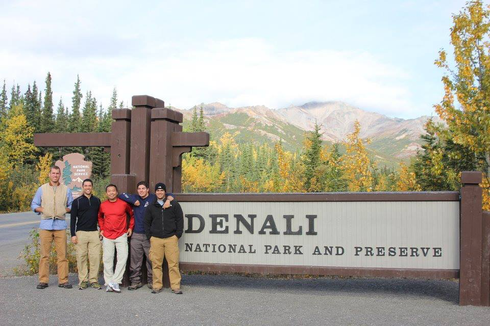 At the entrance to Denali National Park and ready to hike. Oops..not so fast boys, hours of ranger check-in and bus rides ahead of you.