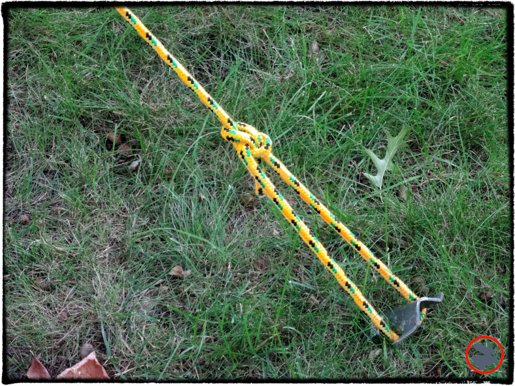 A bowline knot can be used to stake out your tent.