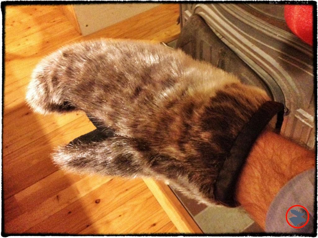 Handmade seal fur mittens from Kuujjuaq Nunavik. Property of Jeff Butler, Northwoods Survival