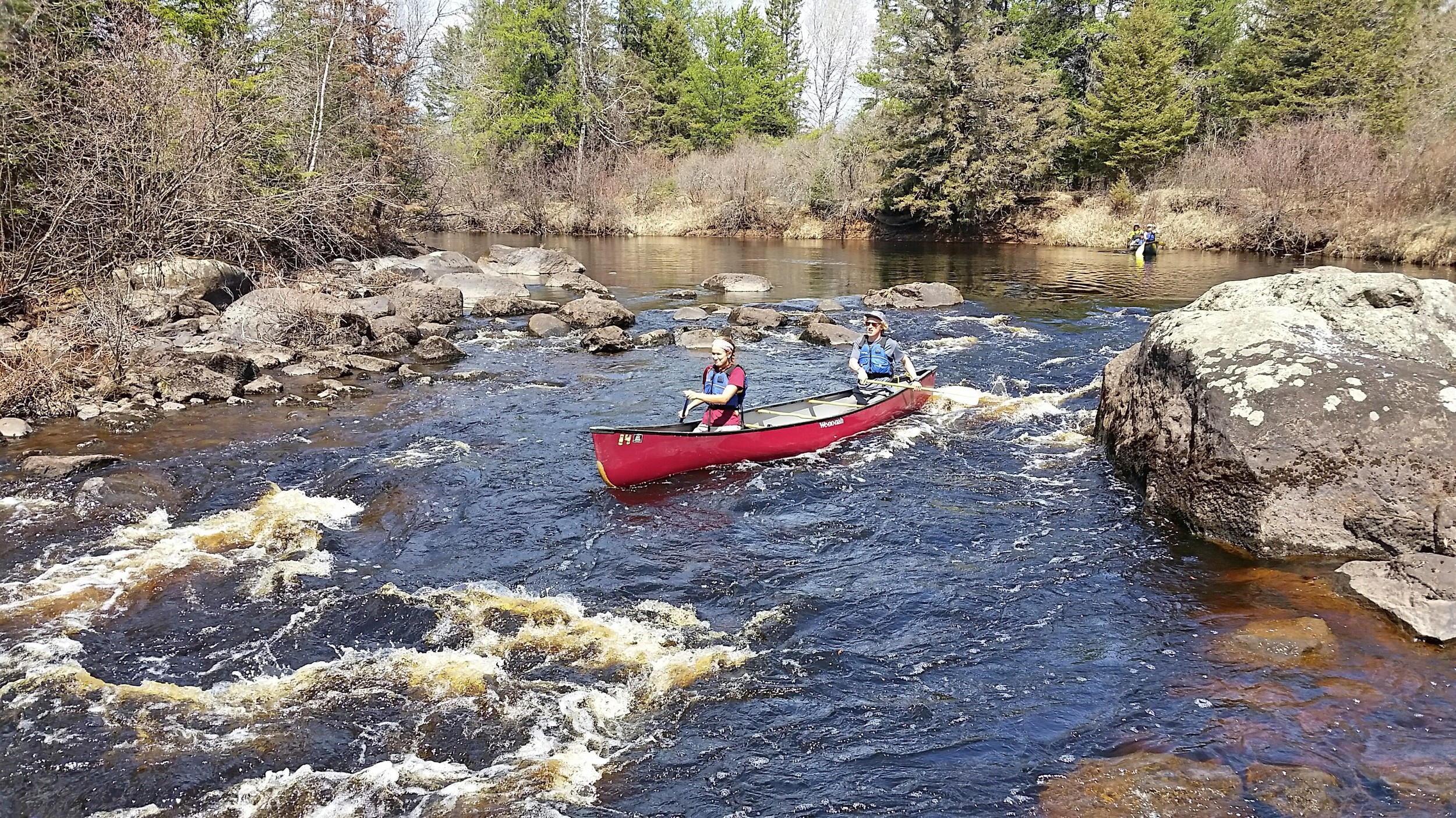 Abby and Nick running the rapids of the Cloquet River. (Photo courtesy of Jeff Lindstrom.)