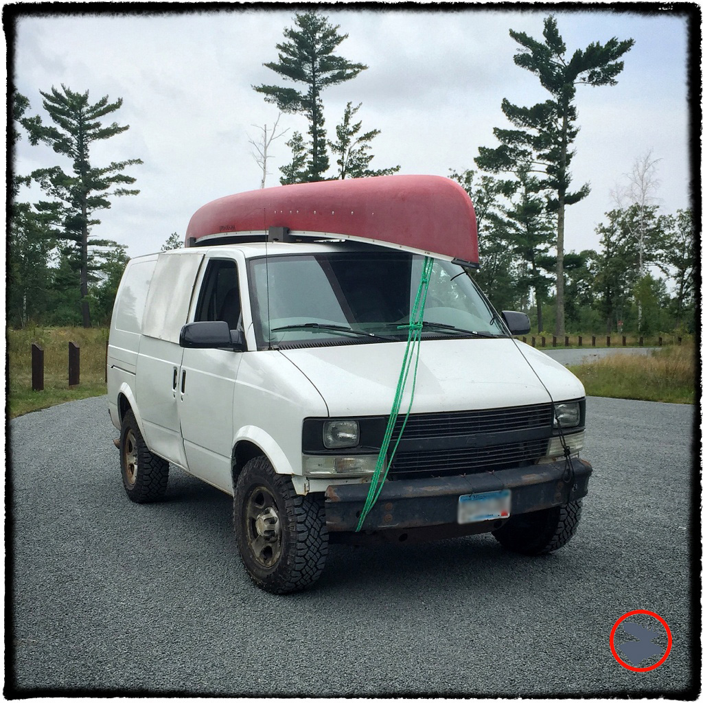 Luke's van, a lifted all-wheel drive Astro cargo van with rugged all-terrain tires, makes a great utility vehicle for the woodsman. Tough, roomy, capable, and affordable, this rig offers great bang for the buck.