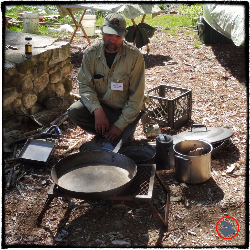 Dan Pelletier beginning his campfire cooking demonstration at the Maine Canoe Symposium.Eggs François coming up!