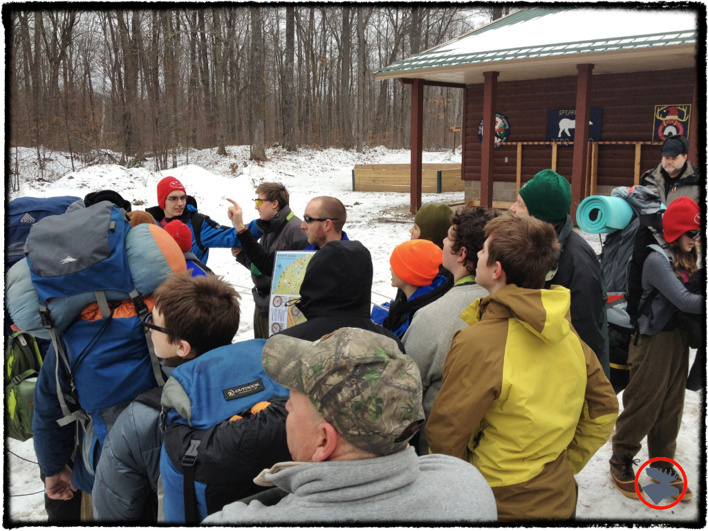 Winter Camping School participants at Camp Tomahawk.