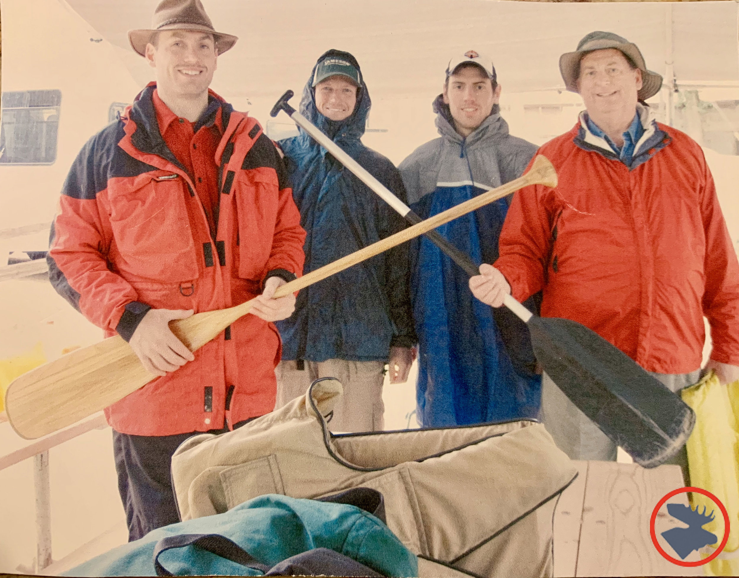 (l-r): Me, Dave, Jeff, and Dad about to launch on a cold and rainy Spring Cannon River cruise in the early 2000s.