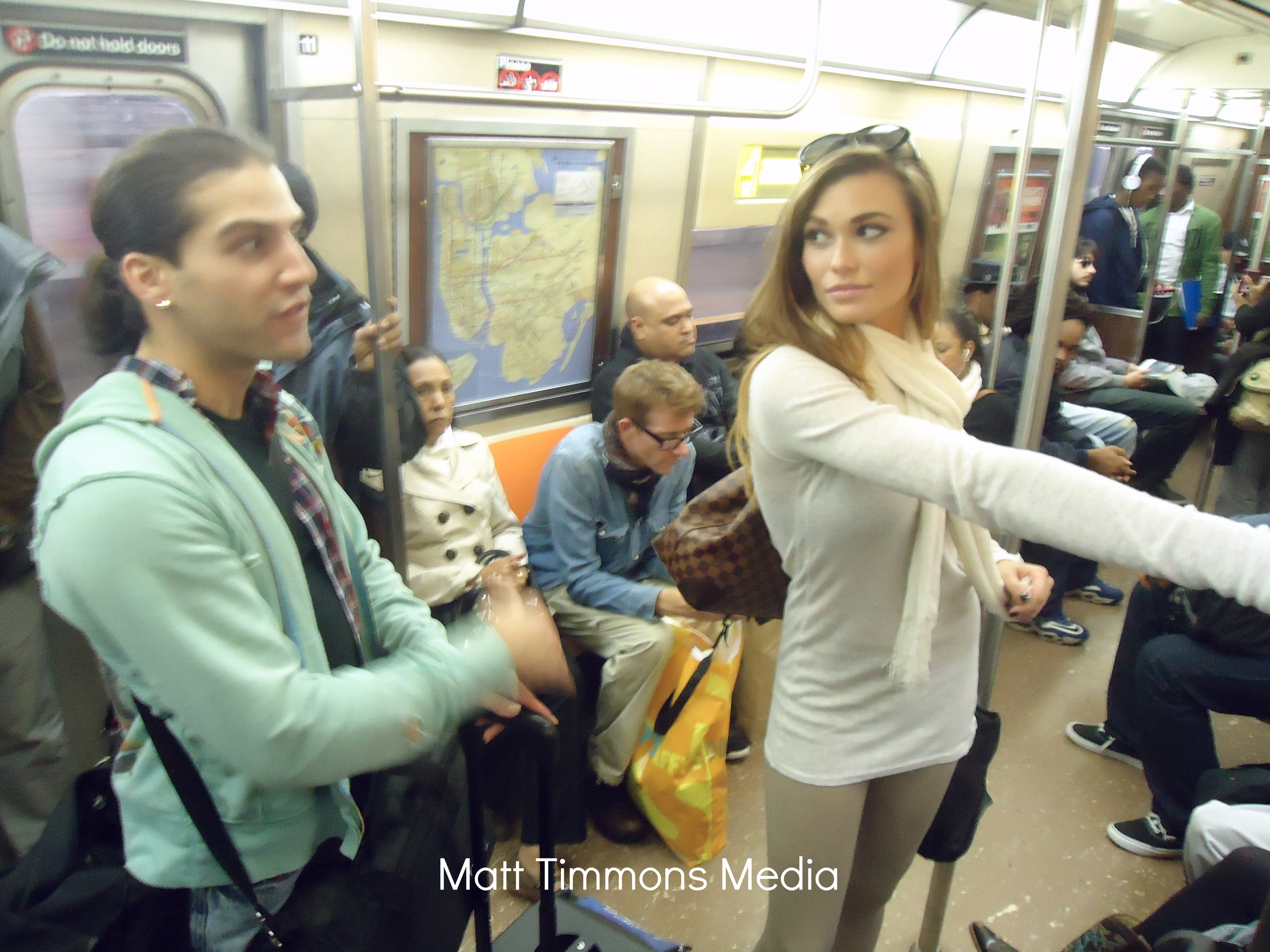Subway ride to the location with Samantha Hoopes.