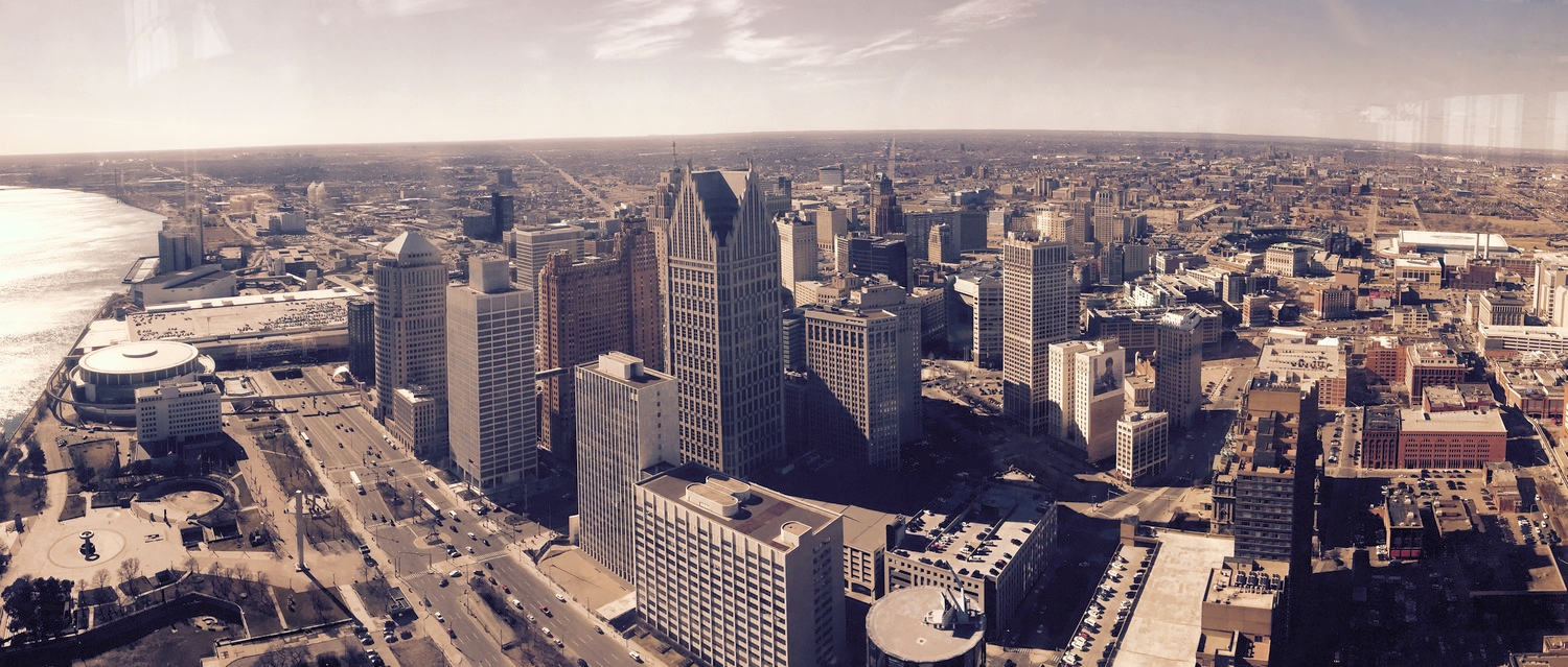 View of Detroit from  Coach Insignia atop the Renaissance Center.