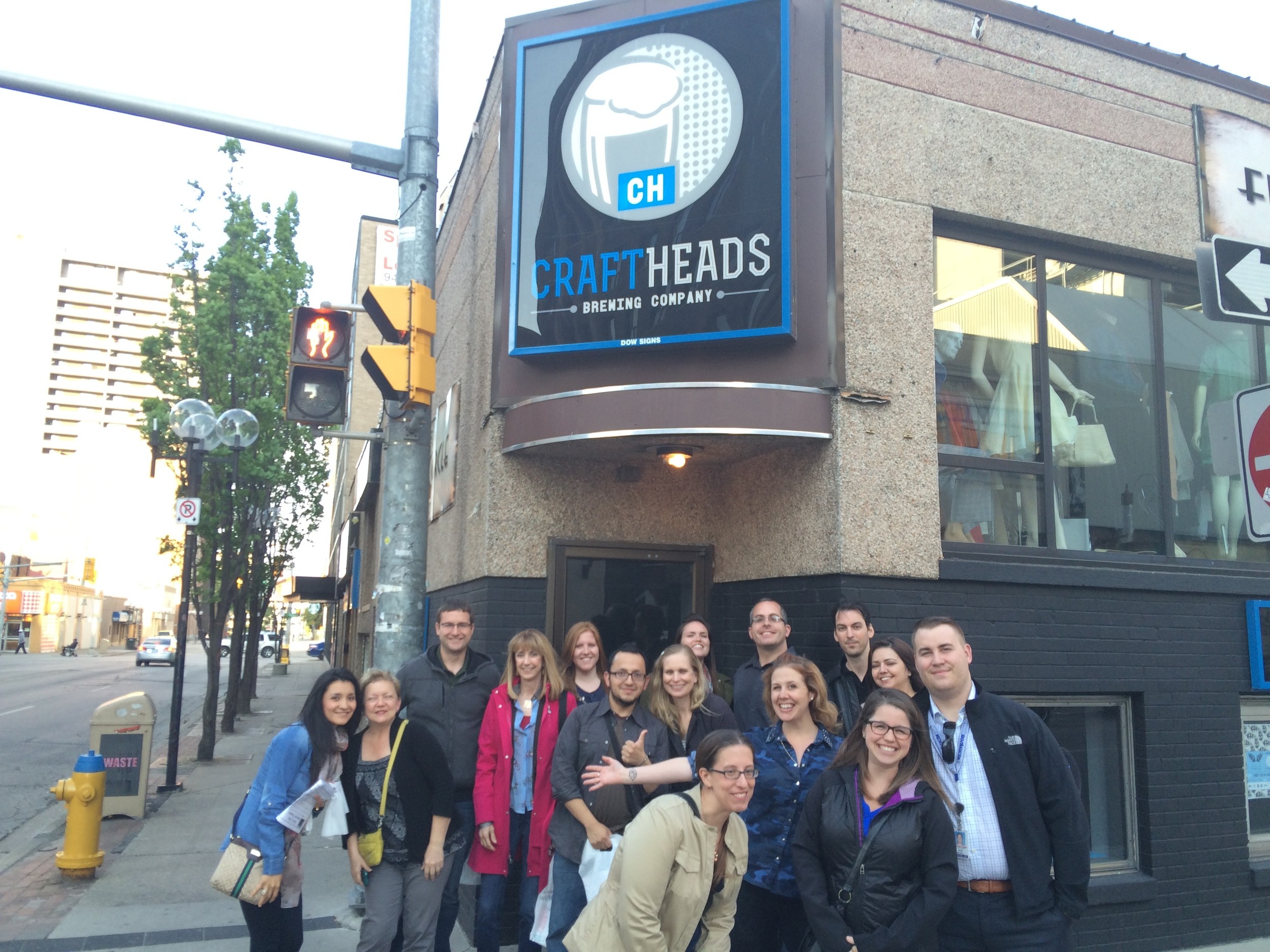 Gathered in front of  Craft Heads.