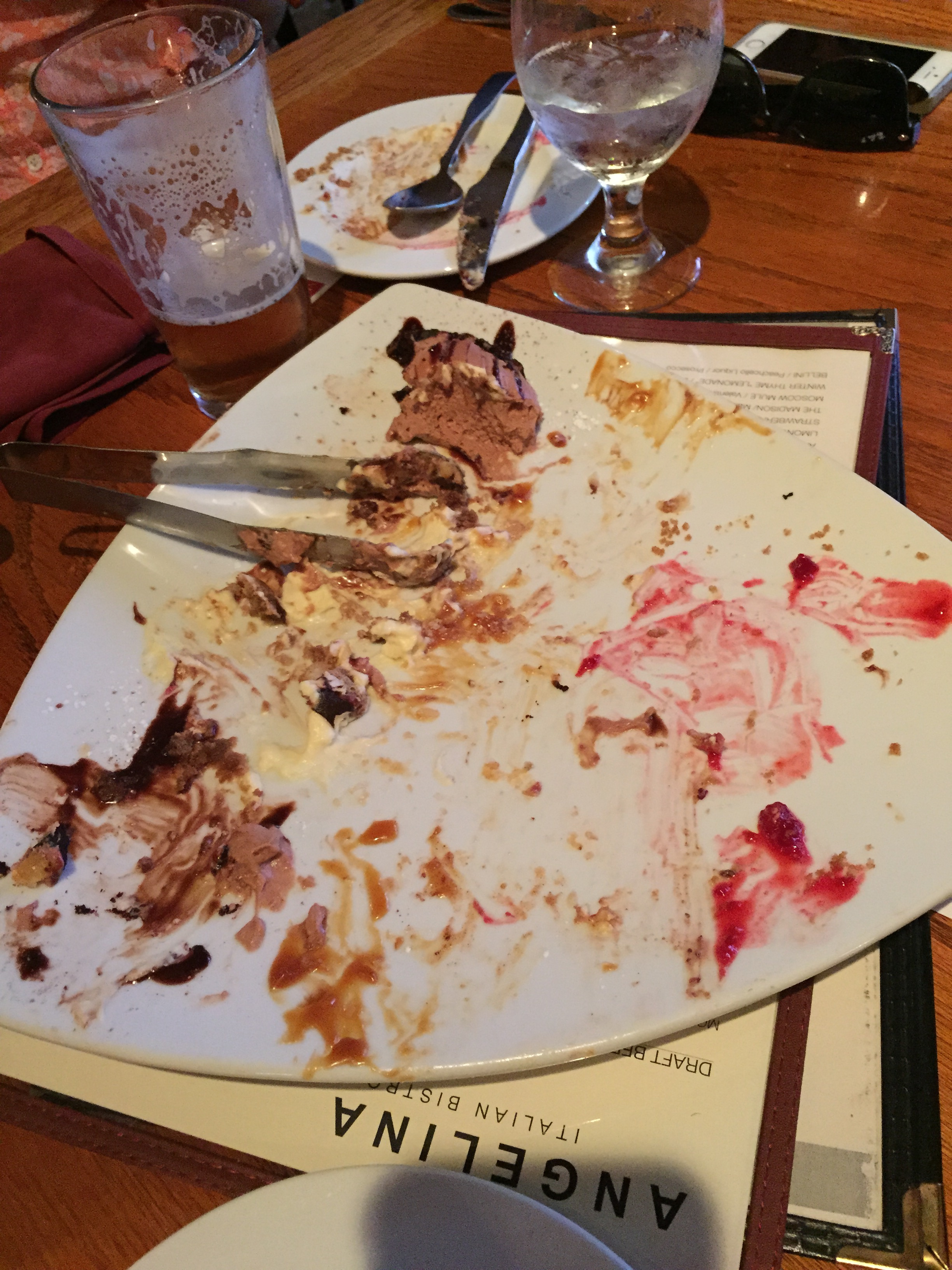 Dessert at  Angelina Italian Bistro  was eaten before we could even snap a picture.