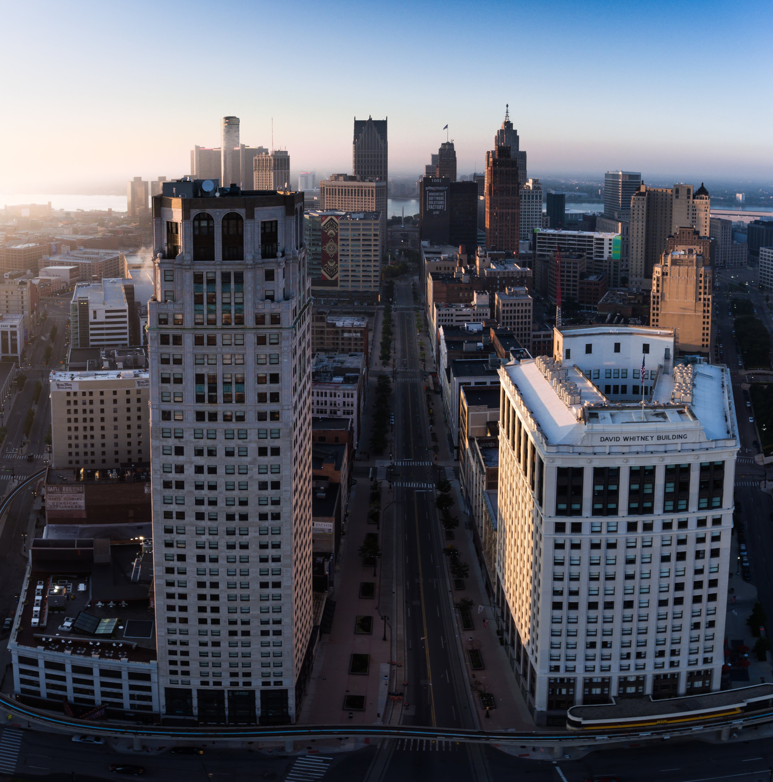 Looking South over Woodward Ave in Downtown Detroit